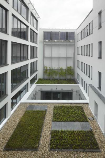 Binnentuin nieuw kantoorgebouw BNP Parisbas Fortis met auditorium (fase 1), Brussel
