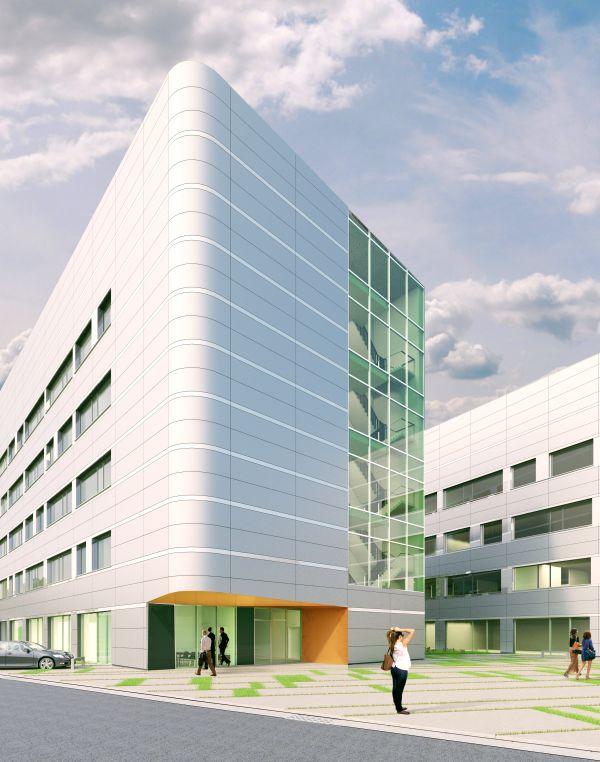 Rendering Life Science Incubator  Bioscape, laboratoria met kantoren