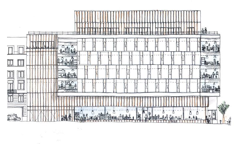 Schets  Opleidingscentrum Europees parlement, auditorium, ondergrondse parking Montoyerstraat 63