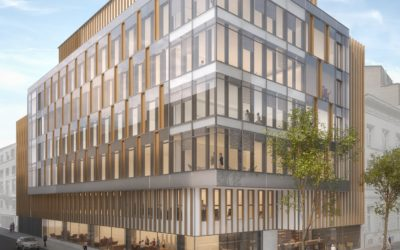 Bouwteam opstelling ter voorbereiding van de constructie van het opleidingscentrum voor het Europees parlement