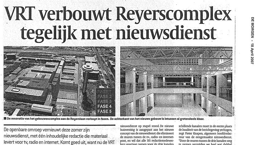 VRT verbouwt Reyerscomplex tegelijk met nieuwsdienst