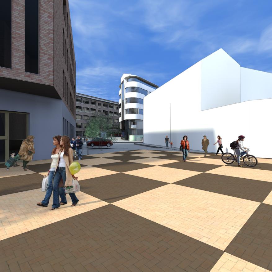 Toekomstig nieuwbouw kantoor op terrein Zuidpoort te Mechelen. Het ontwerp voorziet een extra mogelijkheid tot gedeeltelijke inrichting als hotel.