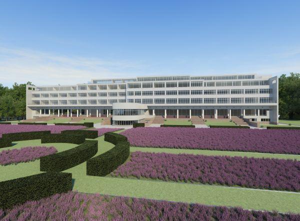 Rendering van nieuw Woon-en Zorg Centrum met assistentiewoningen voormalig Sanatorium Lemaire
